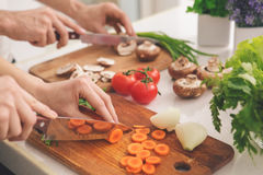 Family Cooking Meal Preparation Together Cutting Ingredients royalty free stock image
