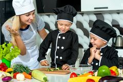 A family of cooks.Healthy eating. Happy family mother and children prepares vegetable salad in kitchen royalty free stock image