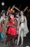 Family in costume halloween parade Stock Photos