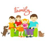 Family on the couch. Royalty Free Stock Photography
