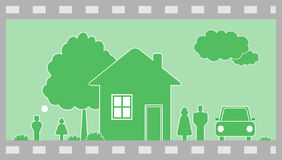 Family in country house. Happy family in country house stock illustration