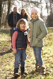 Family on country walk in winter Royalty Free Stock Photography