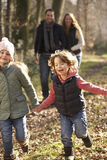 Family on country walk in winter Stock Photos