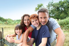 Family in countryside Stock Photo