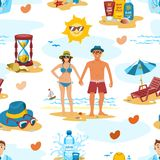 Family couple on the beach vector characters people romance lovers holiday vacation travel time seamless pattern vector Stock Images