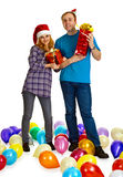 Family couple with Christmas gifts Stock Photography