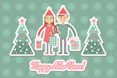 Family couple with Christmas shopping. Greeting card. Royalty Free Stock Photo