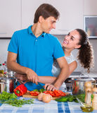 Family couple cooking vegetables Stock Photography
