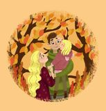 Family couple with daughter on autumn background. vector illustration