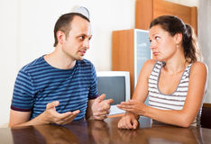 Family couple having serious conversation Stock Image