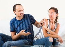 Family couple having serious conversation Stock Photo