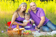 Family couple on nature, picnic Stock Photography