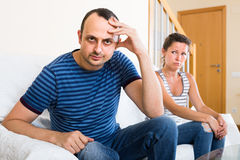 Family couple shouting while arguing indoors Royalty Free Stock Photography