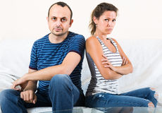 Family couple shouting while arguing indoors Stock Photography