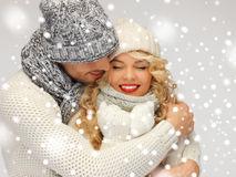 Family couple in a winter clothes Royalty Free Stock Images