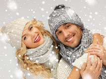 Family couple in a winter clothes Royalty Free Stock Image