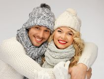 Family couple in a winter clothes Stock Photo