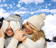Family couple in a winter clothes Stock Photos