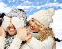 Family couple in a winter clothes Royalty Free Stock Photo