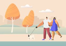 Family Couple of Young People Characters Walking with Pet in Public City Park at Summer Time. Man and Woman Walk with Dog. Outdoors, Spouse Relaxing Promenade vector illustration