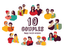 Family couples avatars people faces color set. Stock Images