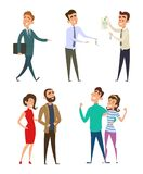 Family couples buying real estate. Vector family and real estate agent with key illustration Stock Photo