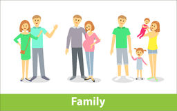 Family. Couples with children. Vector characters in cartoon style Royalty Free Stock Photo