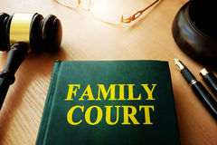Family court and gavel. Book with title family court and gavel Stock Photography