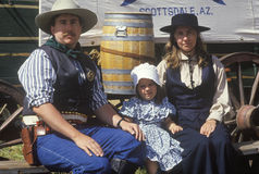 Family during cowboy reenactment Stock Image