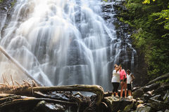 Family at the Crabtree Falls stock images