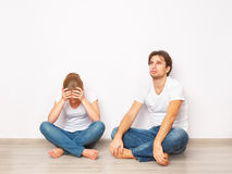 Family crisis, conflict, strife, discord. Wife was mad at her husband Royalty Free Stock Photo