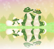 Family of crocodiles. Funny illustration of alligators on river vector illustration