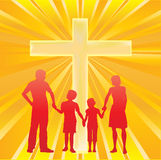 Family and The Cross. Illustration of Christian Cross Symbol with a family and sunburst Stock Image