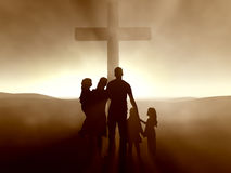 Family at the Cross of Jesus Christ. Silhouettes of a family at the Cross of Jesus Stock Photo