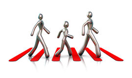 Family crossing a road. Metallic figures walking over red stripes on a white background Stock Image