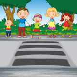 Family crossing road Royalty Free Stock Photography