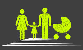 Family crossing the road. Stop sign Royalty Free Stock Image
