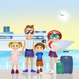 Family on cruise. Illustration of family on cruise Royalty Free Stock Photos