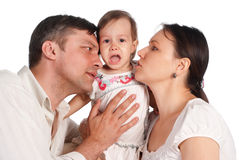 Family and crying baby Royalty Free Stock Images