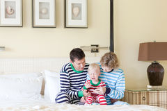 Family with crying toddler royalty free stock images