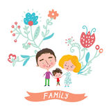 Family cute card with floral design Stock Image