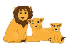 Family of cute cartoon lions. Vector royalty free illustration