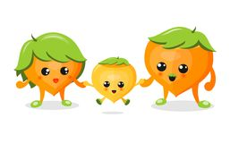 Family Of Cute Nuts On White Background Illustration, Vector. Royalty Free Stock Images