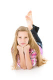 Family: Cute Pre-teen Lying with Hands on Chin Stock Photography