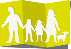 Family cutout. Paperlike cut out of family with dog Stock Photography