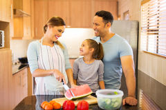 Family cutting watermelon Royalty Free Stock Photography