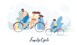 Happy Family Cycling Together Flat Vector Concept royalty free illustration