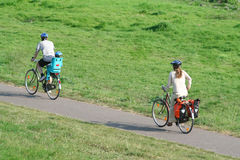 Family cycle tour. A family on cycle tour Royalty Free Stock Images