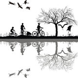 Family cycling in the countryside Stock Photography
