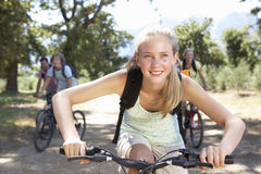 Family Cycling Through Countryside Royalty Free Stock Photos
